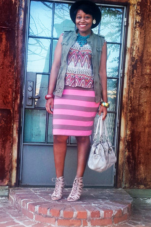 dark khaki military vest - coral tribal top - bubble gum stripes H&M skirt