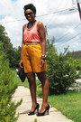 Gold-liz-claiborne-shorts-salmon-h-m-top