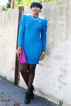 teal fringe thrifted vintage dress