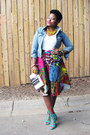 Sky-blue-denim-jacket-jacket-white-mossimo-shirt-african-print-skirt
