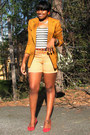Mustard-tweed-thrifted-vintage-blazer-brick-red-nine-west-shoes