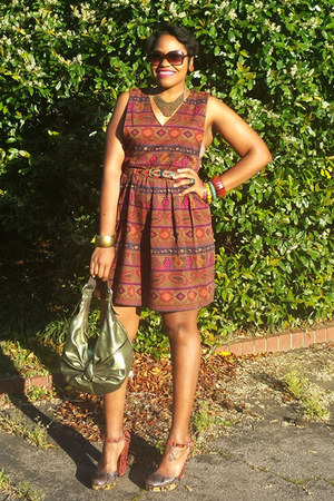 maroon tribal thrifted vintage dress - green metallic bag