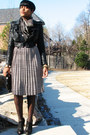 Fux-leather-jacket-striped-thrifted-vintage-dress