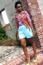 burnt orange leather papaya vest - sky blue shorts - magenta plaid Old Navy top