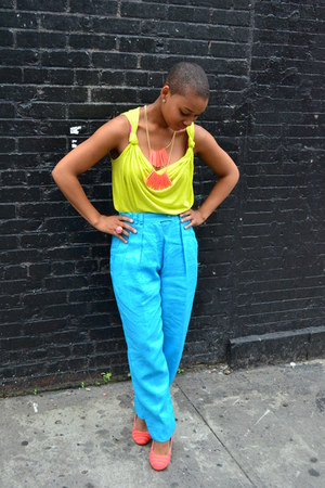 chartreuse neon tank H&M shirt - turquoise blue linen Thrift Store pants