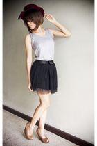 silver shirt - black skirt