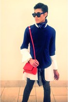 red bag - blue blazer - white shirt - blue scarf - navy Celine sunglasses