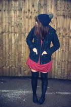black brogues Primark shoes - maroon floaty dress Zara dress - navy H&M coat - n