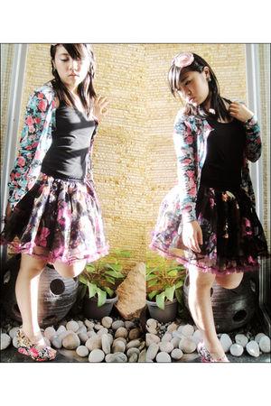 blue Topshop cardigan - black blouse - black SM Dept Store skirt - pink EGG acce