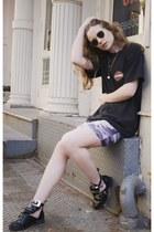 camo Missguided skirt - biker Sheinside boots - harley davidson vintage t-shirt