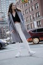 wool coat Primark coat - Reformation shirt - white sneakers Adidas sneakers