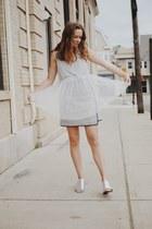 peach tweed Club Monaco skirt - silver silver Topshop sandals