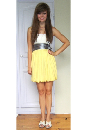 yellow GlitterU dress - silver GlitterU belt - beige Cherokee shoes - silver Exq