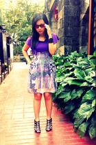 purple dress - black shoes - brown Ray Ban glasses - black bracelet