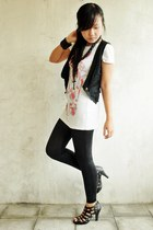 black vest - black So FAB tights - white t-shirt - black accessories - black