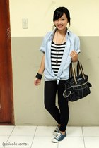 black leggings - light blue top - - black Marithe Francois Girbaud bag - navy