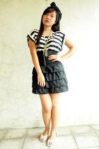 black skirt - white - Forever 21 dress - white accessories -