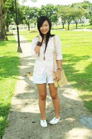 pink Bado top - white shorts - white shoes - beige purse - brown accessories