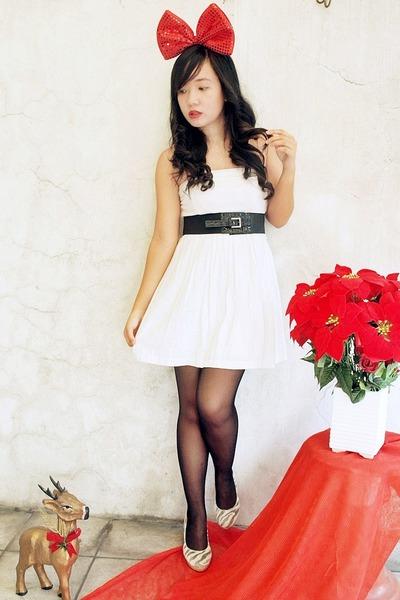 Forever 21 dress - sm department store belt - bought online - stockings