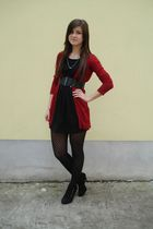 red Zara cardigan - black New Yorker dress - black unknown tights - black unknow