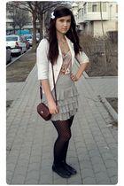 pink top - white blazer - gray New Yorker skirt - black shoes - brown purse