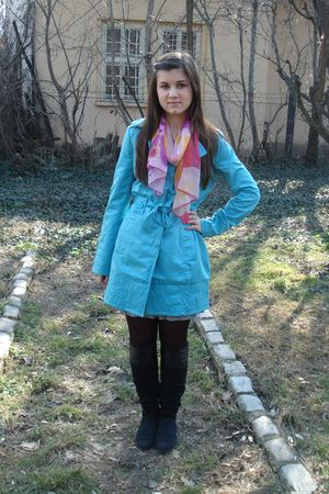 blue Orsay coat - pink unknown scarf - black Dosenbach boots