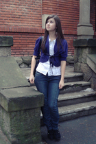 purple unknown sweater - white Terranova shirt - black purse - black shoes - bla