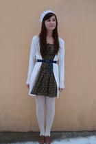 white tights - brown Zara shoes - green Zara dress - white cardigan