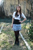 gray New Yorker skirt - black New Yorker top - white Mango cardigan - tights - b