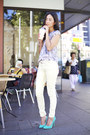 Sky-blue-alice-mccall-top-light-yellow-zara-pants