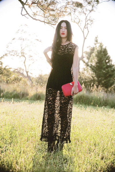 black gary pepepr vintage dress - red vintage bag - black Jeffrey Campbell shoes
