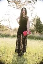 black gary pepepr vintage dress - red vintage bag - black Jeffrey Campbell shoes