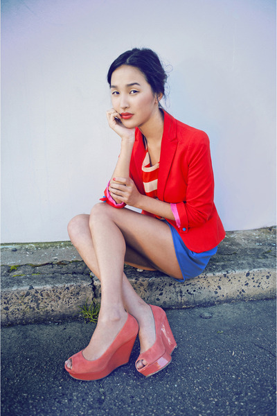 salmon betts wedges - red Zara jacket - blue gary pepper vintage shorts