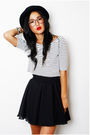 Black-vintage-skirt-white-vintage-top-black-vintage-hat