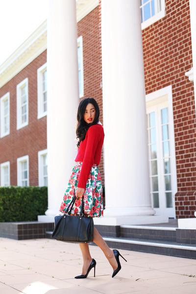 red floral vintage skirt - black Christian Louboutin heels - red Marcs jumper