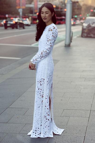 off white Zimmermann dress - silver Samantha Wills ring