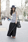 Gray-thrited-top-black-vintage-skirt-blue-akubra-hat-black-alexander-wang-