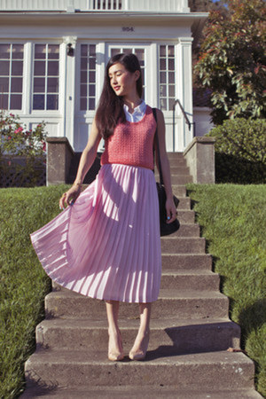 light pink gary pepper vintage skirt - black See by Chloe bag