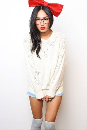 white vintage jacket - blue Camilla and Marc shorts - gray vintage socks - red D