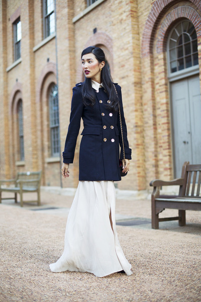 navy Jolie & Deen coat - neutral juliette hogan dress