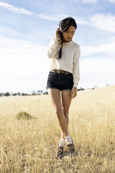white vintage jacket - blue Camilla and Marc shorts - beige from Tokyo socks - b