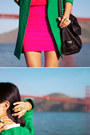 Turquoise-blue-zara-coat-black-see-by-chloe-bag-red-topshop-top