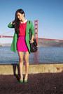 Turquoise-blue-zara-coat-black-see-by-chloe-bag-red-topshop-top