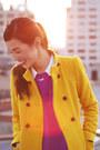 Gold-zara-coat-black-charlotte-olympia-boots-magenta-topshop-top