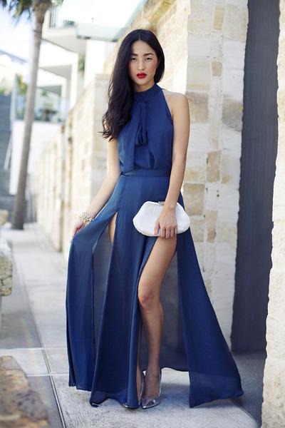 blue Style Stalker top - ivory gary pepper vintage bag - silver Zara heels