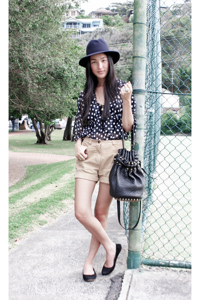 blue akubra hat - black Country Road shoes - black Alexander Wang bag