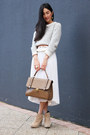 White-gary-pepper-vintage-dress-bronze-gary-pepper-vintage-bag