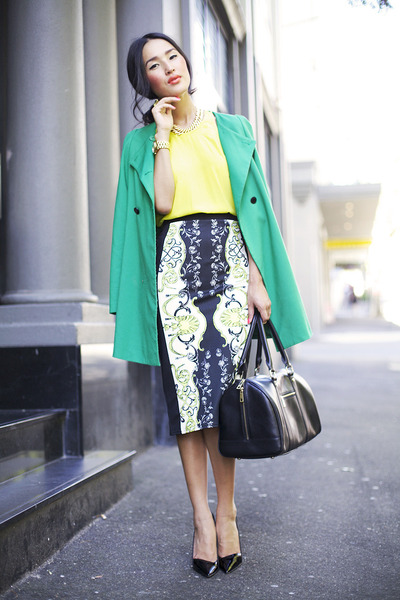 black River Island skirt - turquoise blue Zara coat