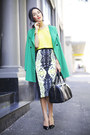 Turquoise-blue-zara-coat-gold-gary-pepper-vintage-necklace
