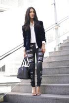 black Marcs bag - navy Style Stalker blazer - white Zara shirt - black Aje pants